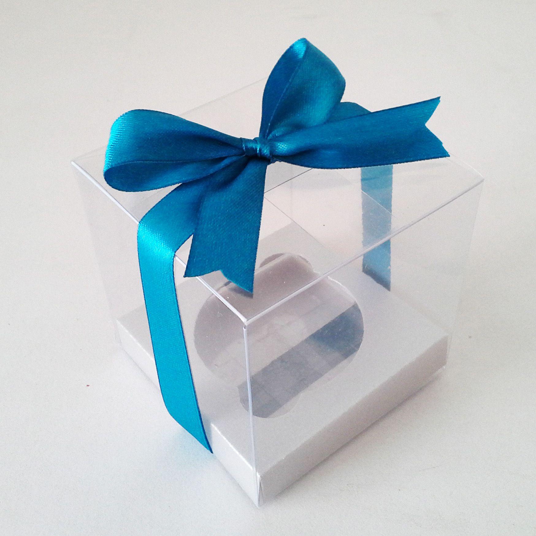 Caja de acetato individual para cupcakes con moño azul celeste y ...