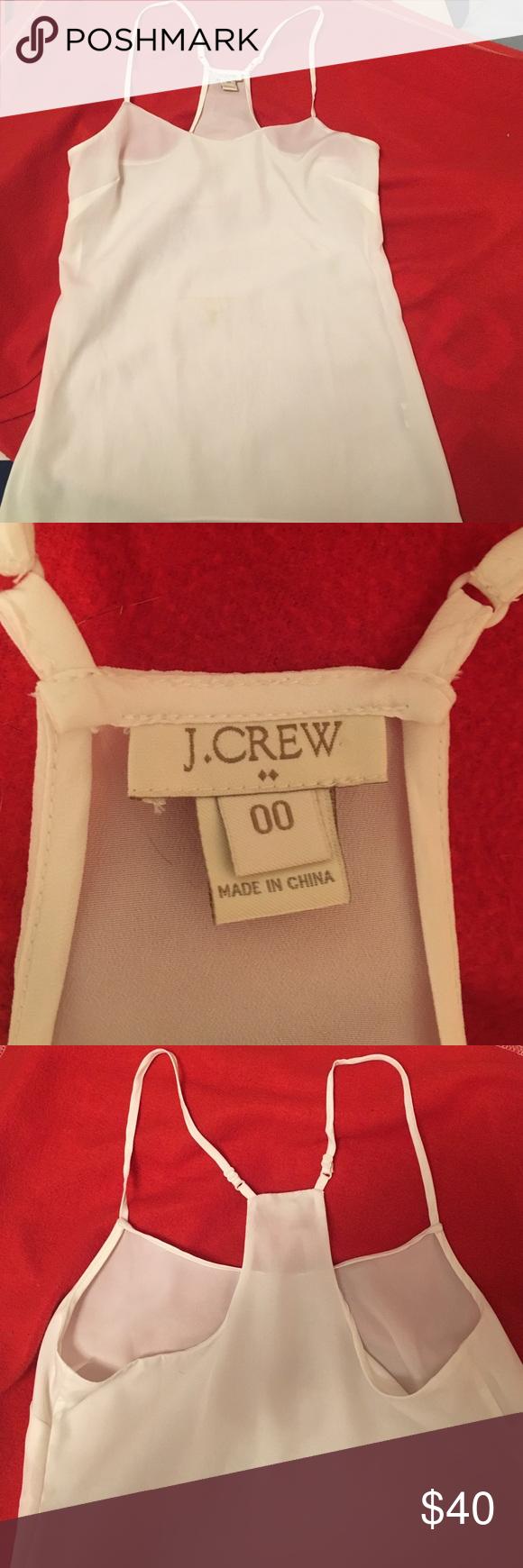 J. Crew tank White chiffon material, slightly sheer. NWOT J. Crew Tops Tank Tops