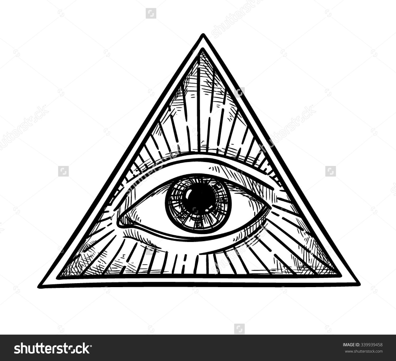 All seeing eye pyramid symbol in the engraving tattoo