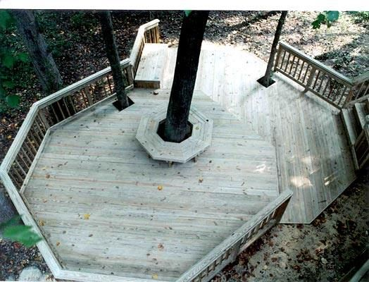 Multi Level Deck With Circular Bench Around Large Existing