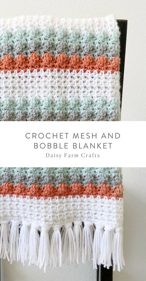 Free Pattern - Crochet Mesh and Bobble Blanket #crochet | Crochet ...