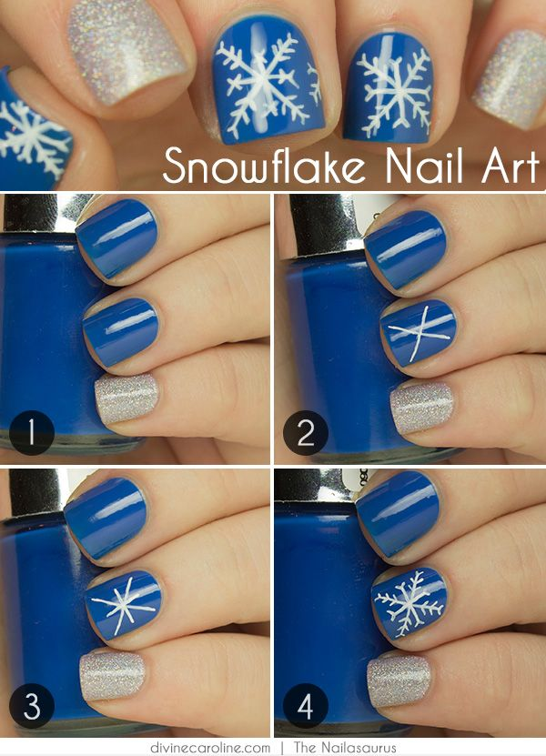 Nail Art How To Snowflake Design Snowflake Designs Manicure And