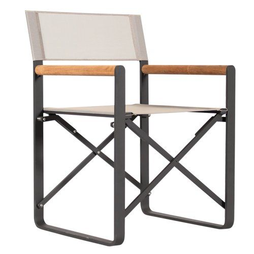 Lca Directors Chair From Harbour Outdoor With Asteroid Frame And Taupe Batyline Fabric Urban Coutur Modern Outdoor Chairs Outdoor Dining Chairs Outdoor Chairs