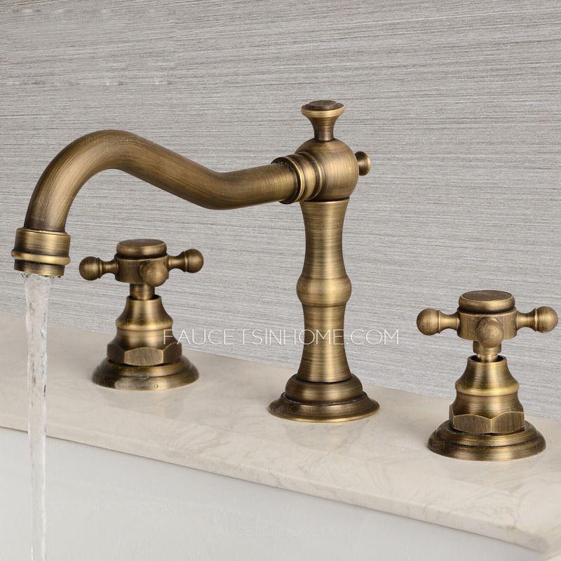 Vintage Antique Brass Three Hole Cross Handle Bathroom Faucet