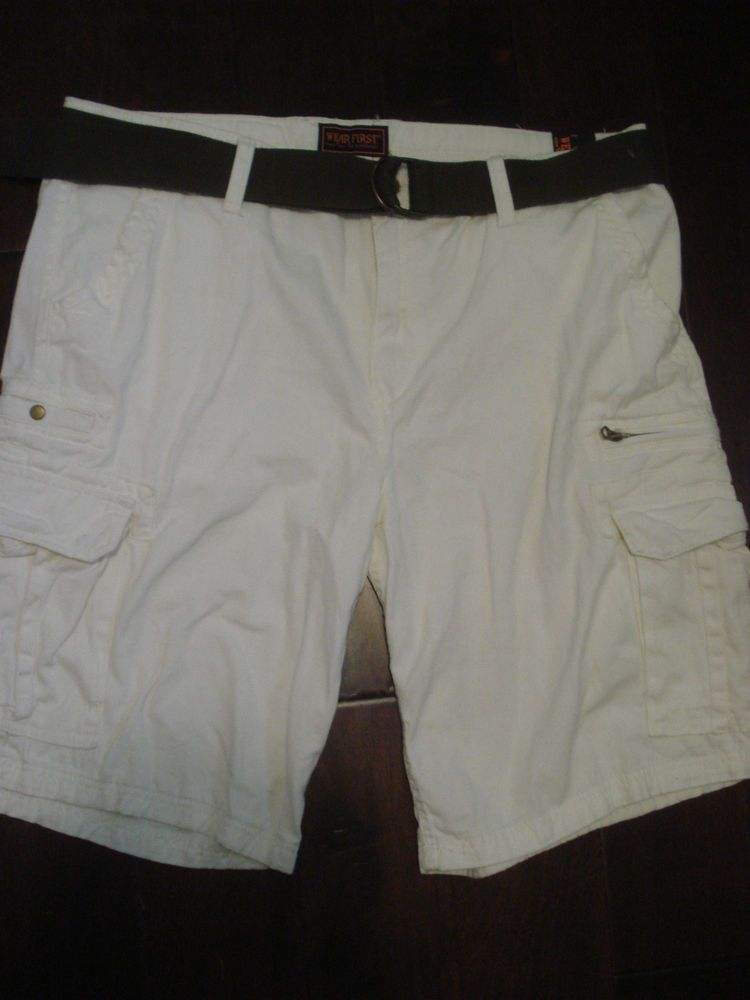 c23f1325a0 NEW WEAR FIRST MENS CARGO SHORTS SIZE 44 IVORY CASUAL BELTED NWT #WearFirst  #Cargo