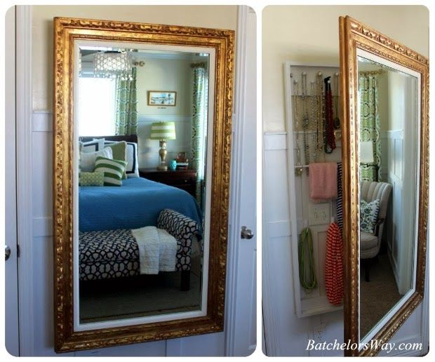 Cool Idea To Hide Jewelry Batchelors Way: DIY Master Bedroom On A Budget  Reveal. Mirror On The WallWall ...