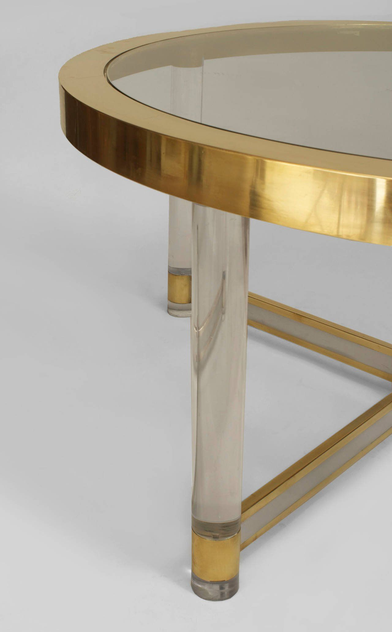 French Silver And Brass Trimmed Glass And Lucite Dining Table