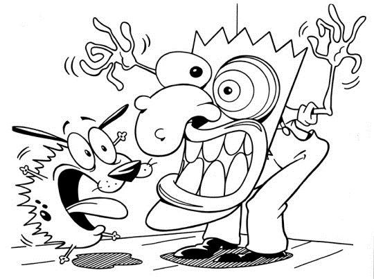Courage The Cowardly Dog Shocked Cartoon Coloring Pages Dog