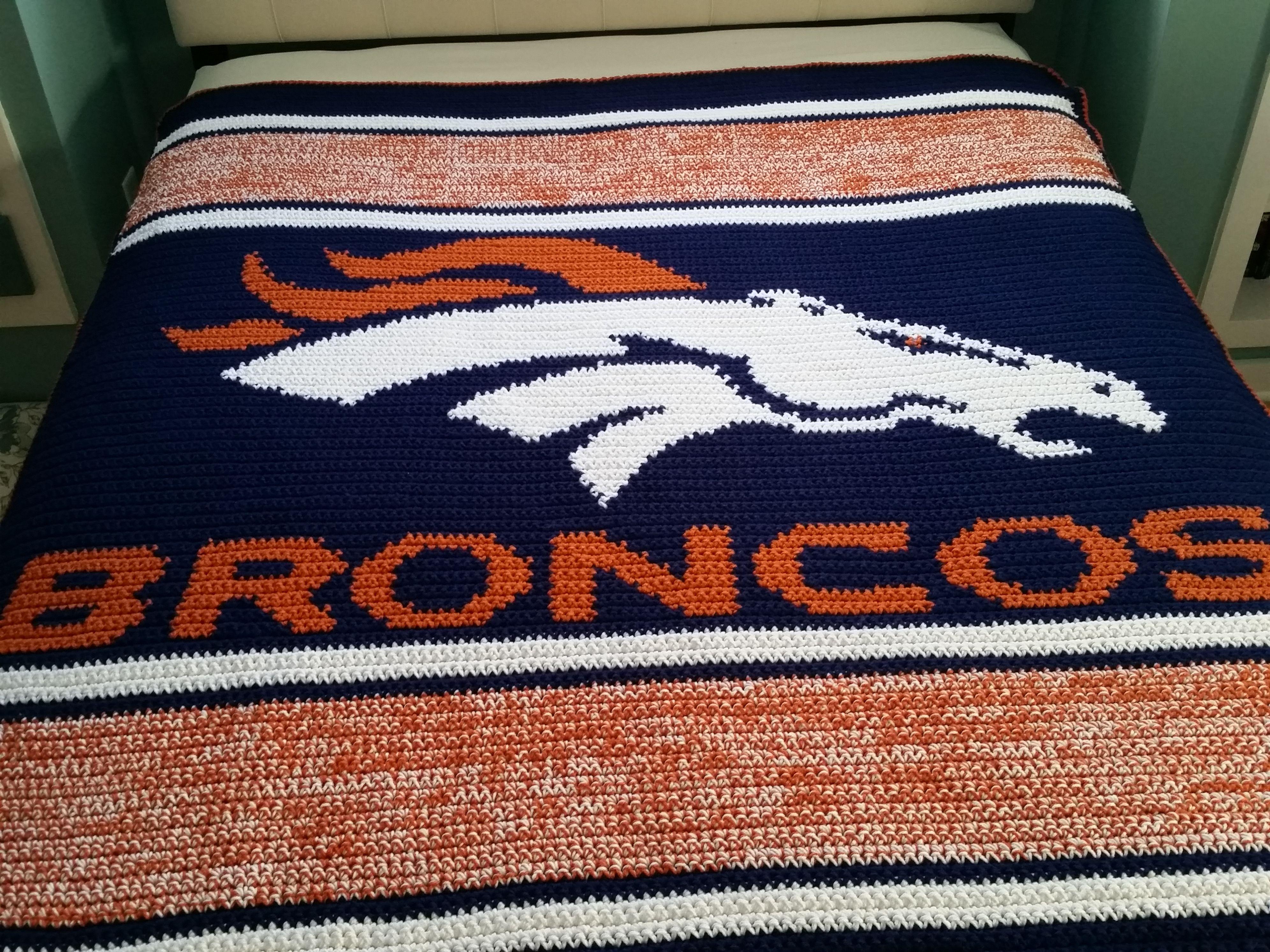 Denver Broncos Football Crochet Blanket   Denver broncos crochet ...