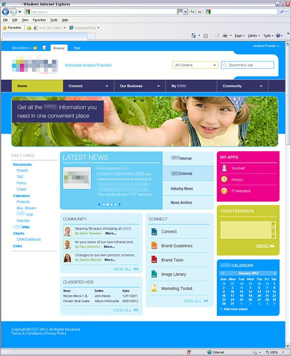 A selection of Sharepoint homepage concepts/designs for