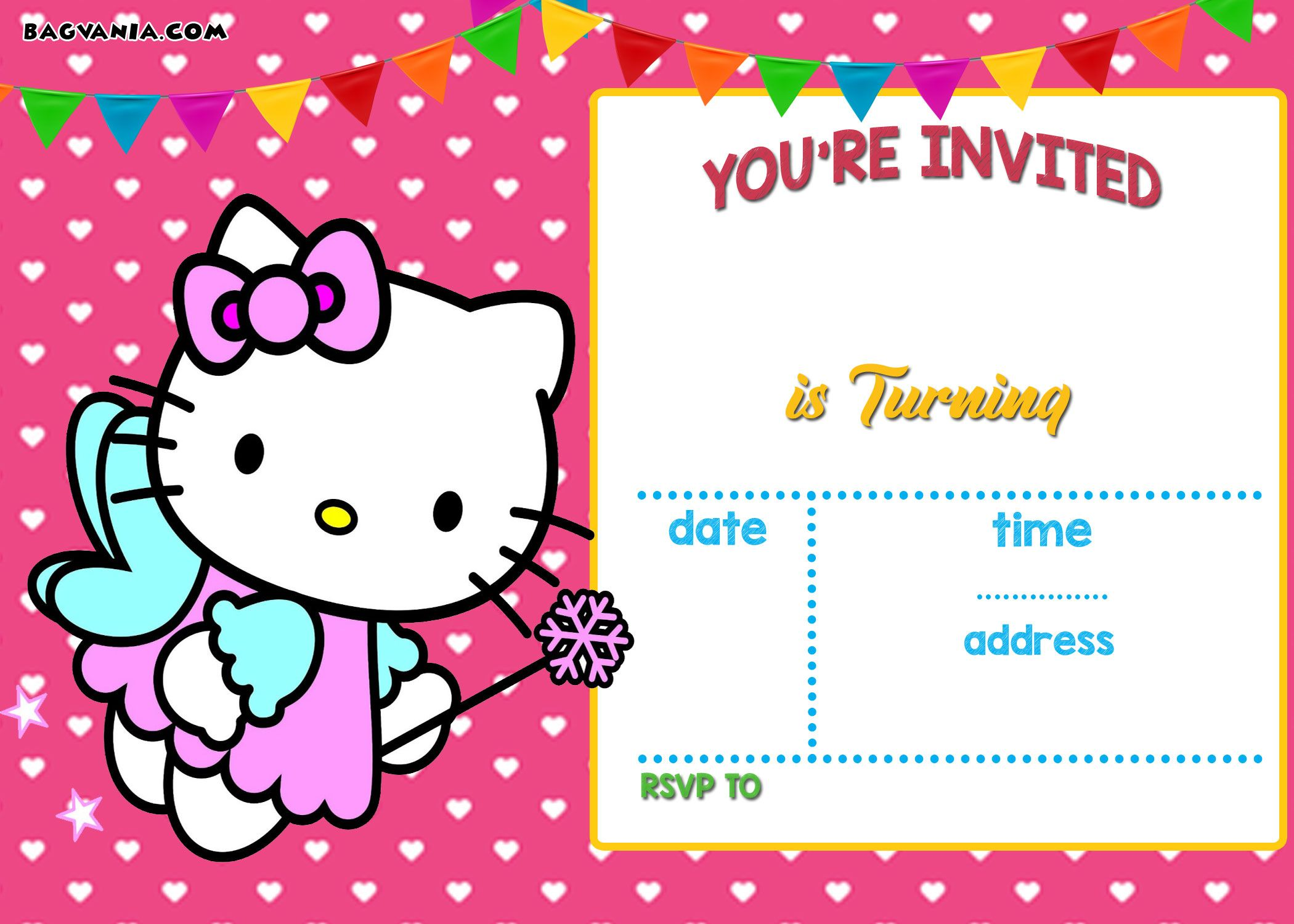 Download FREE Printable Hello Kitty Invitation Templates Theme