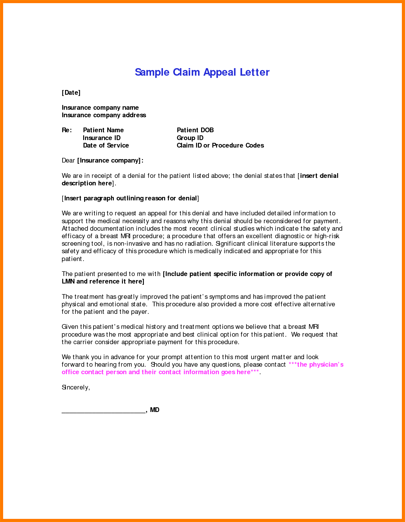 insurance appeal letter template health letters medical sample claim best free home design idea inspiration