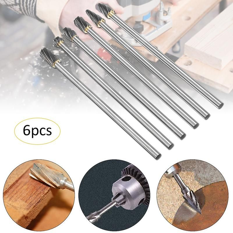 "6pcs Rotary Aluminum Cut Burr 6mm 1//4/"" Shank 150mm Long Reach Carbide Burs"