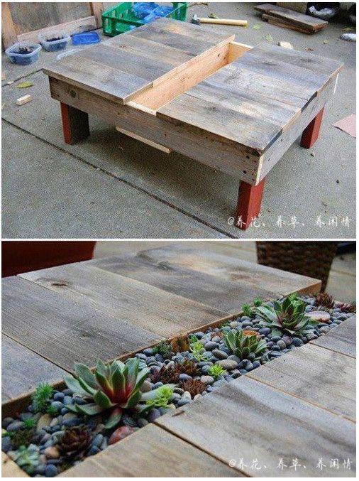 De tafel als plantenbak.