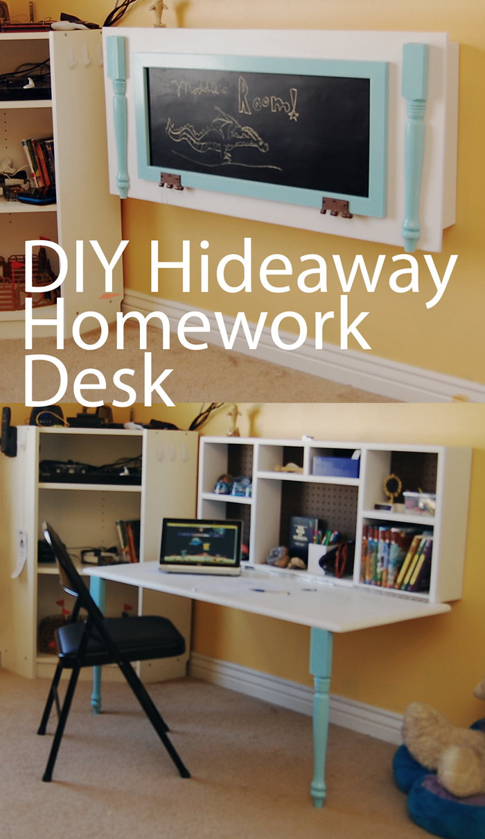 Diy hideaway homework wall desk boys rooms pinterest for Table for kids room