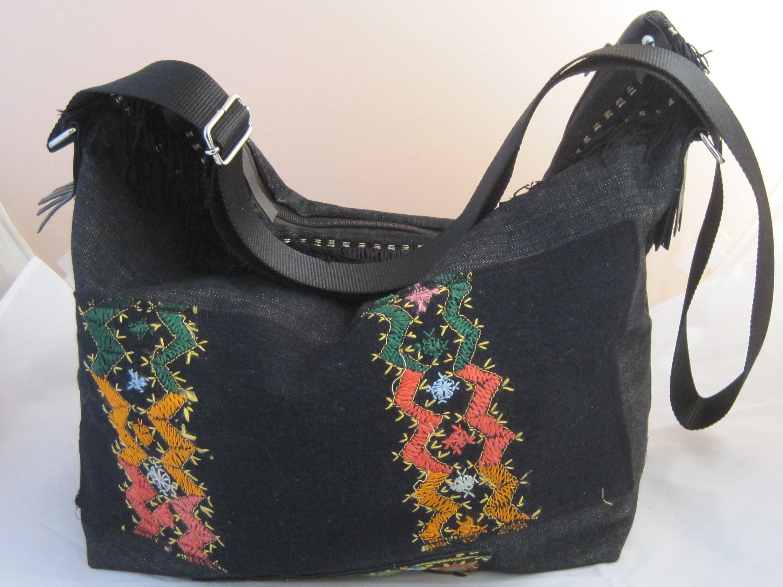 Photo of Borsa tessuto, borsa fatta a mano, borsa in jeans nero, borsa a tracolla, borsa con frange