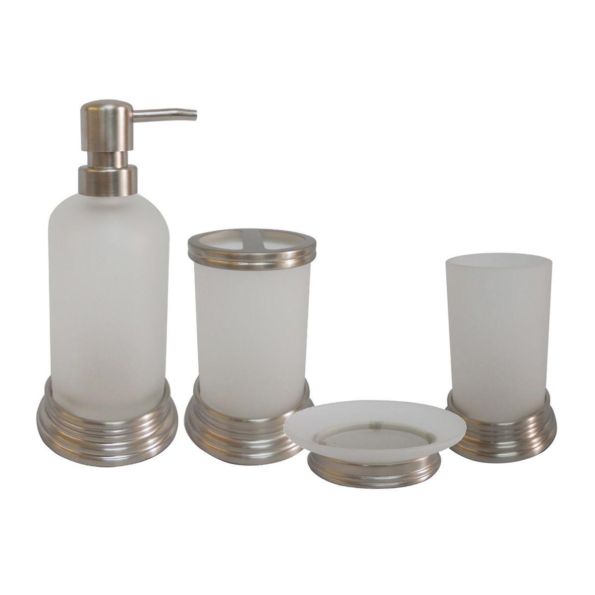 Misty Glass And Chrome Bath Accessory Piece Set Overstock