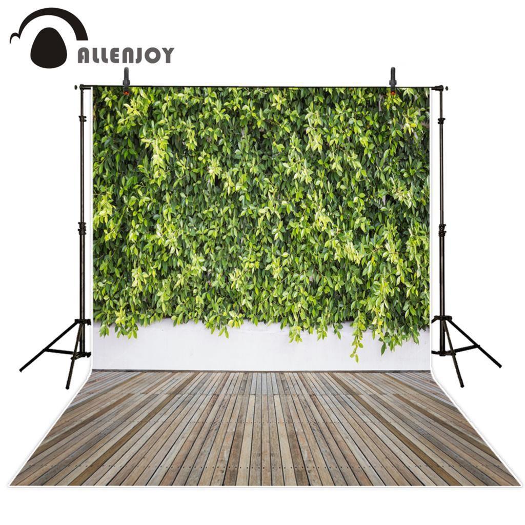 cf118f39c2b85 Allenjoy Photo Backdrop Old Garden Green Plants Wall Hardwood Floor