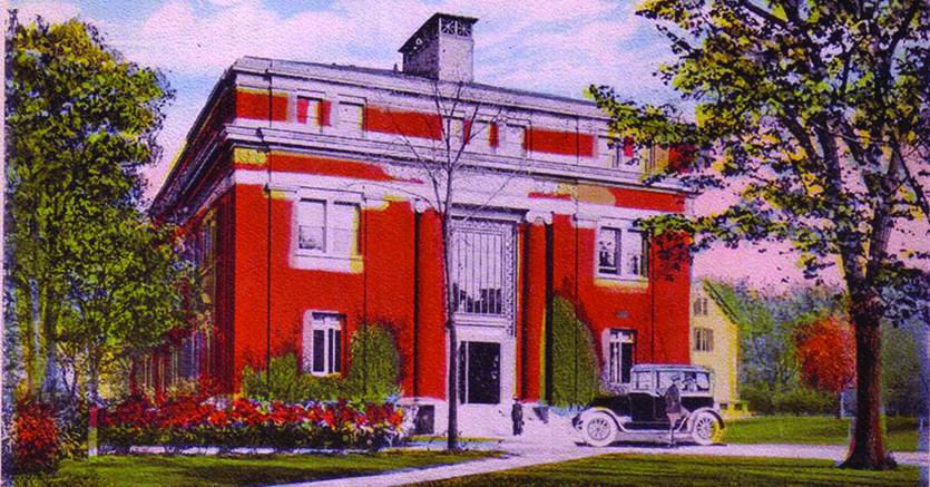 Harvard. Emerson  Hall, sede del Dipartimento di filosofia, in una cartolina d'epoca*silva*