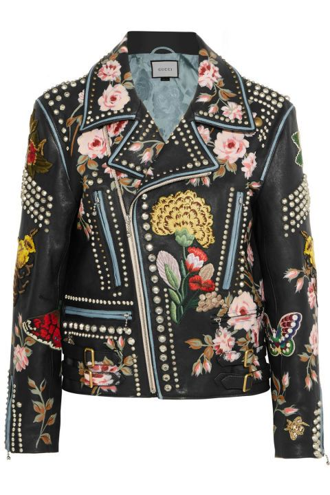 45fdbcc9a What's a better fall statement leather jacket than this gorgeous one from  Gucci? Gucci Studded and Floral Embroidered Black Leather Biker Jacket; ...