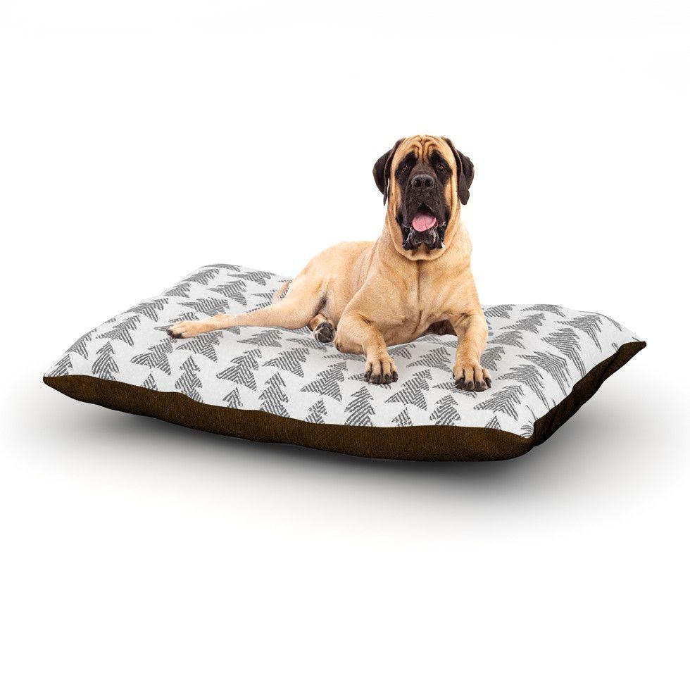 "Michelle Drew ""Herringbone Forest Black"" Gray White Dog Bed"
