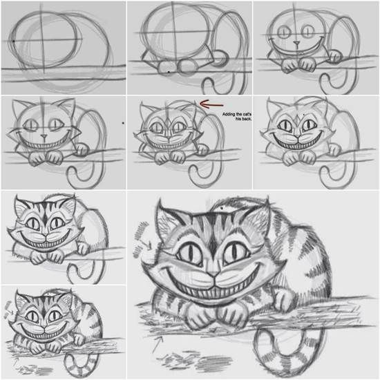 How to Draw the Cheshire Cat Easily | Creative Ideas | Pinterest ...
