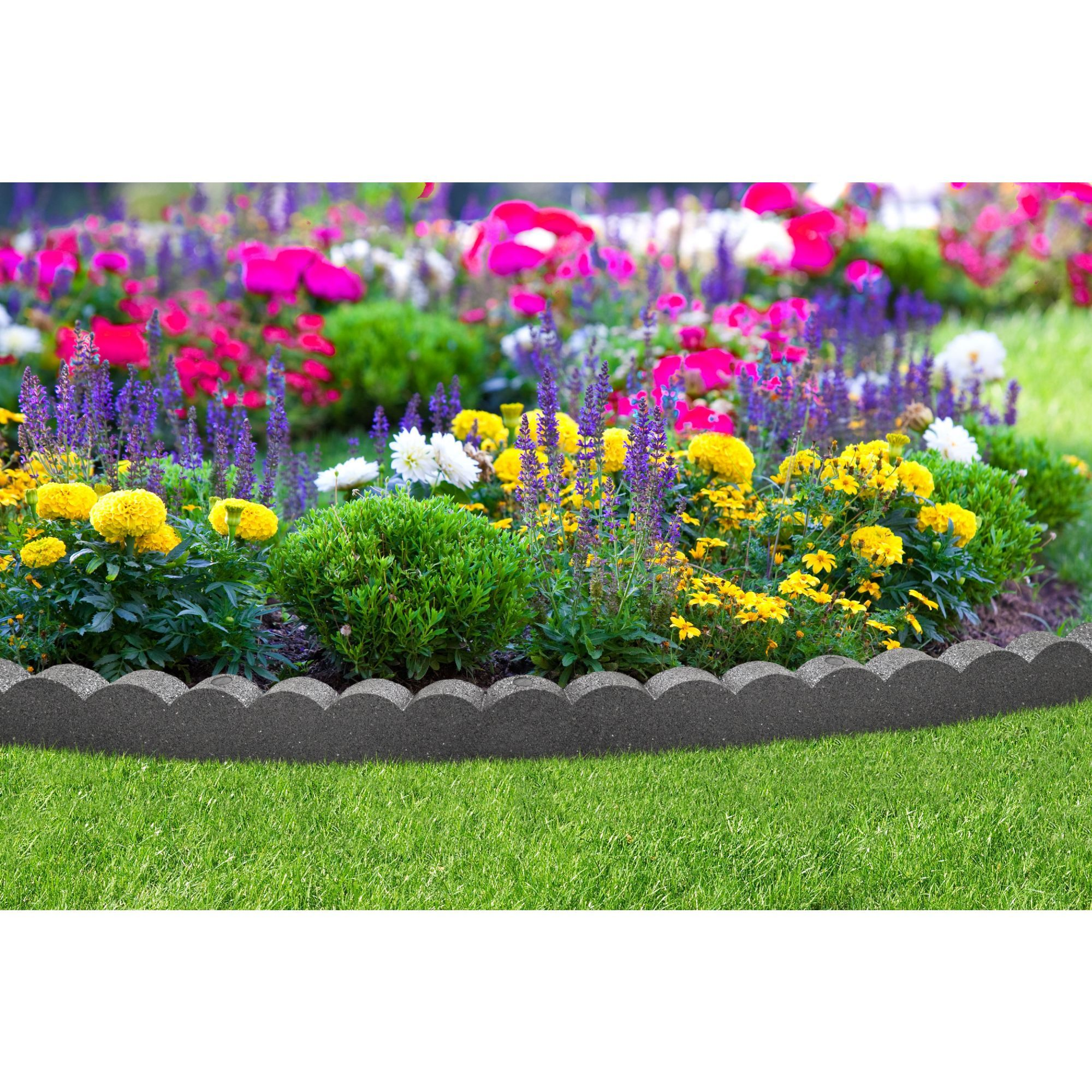 122m Recycled Rubber Edging Flexi Curve Scallop Grey H9cm Lawn Edging Garden Border Edging Recycled Rubber