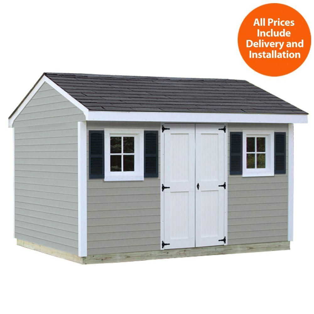 Installed Classic 8 Ft X 12 Ft Vinyl Shed Browns Tans Vinyl Sheds Sheds Usa Home Depot Shed