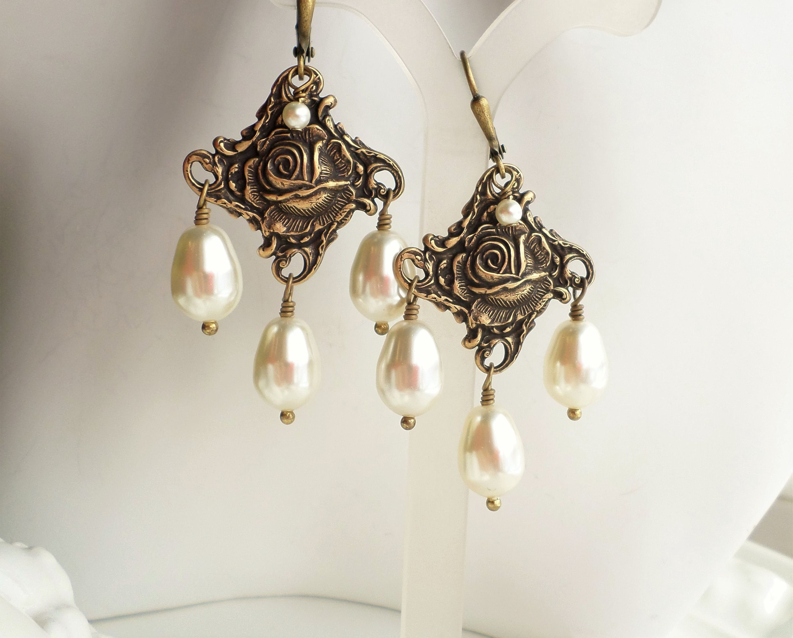 8fafe923074ff Cream Swarovski Pearl Chandelier Earrings, Aged Brass Art Nouveau ...