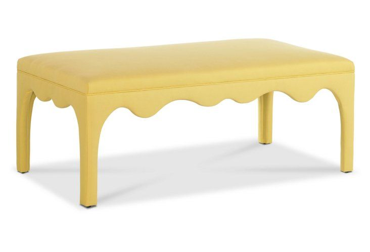 $999 Ivy Scalloped Ottoman, Yellow