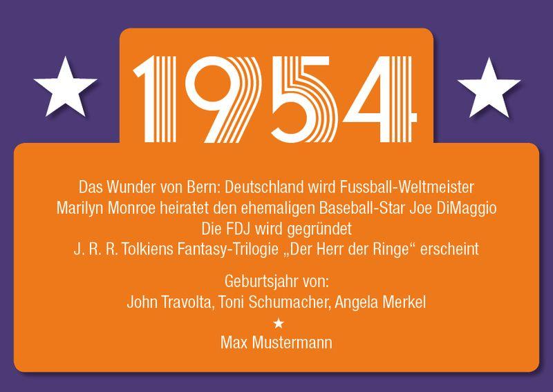 Einladung zum 60 Geburtstag 1954 Ereignisse von Individuelle