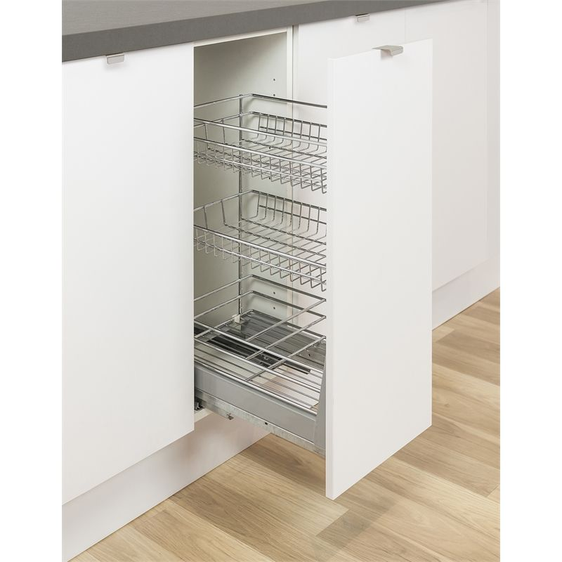 kaboodle 300mm 3 tier soft close pullout basket kaboodle kitchen bunnings inside cabinets on kaboodle kitchen microwave id=97671