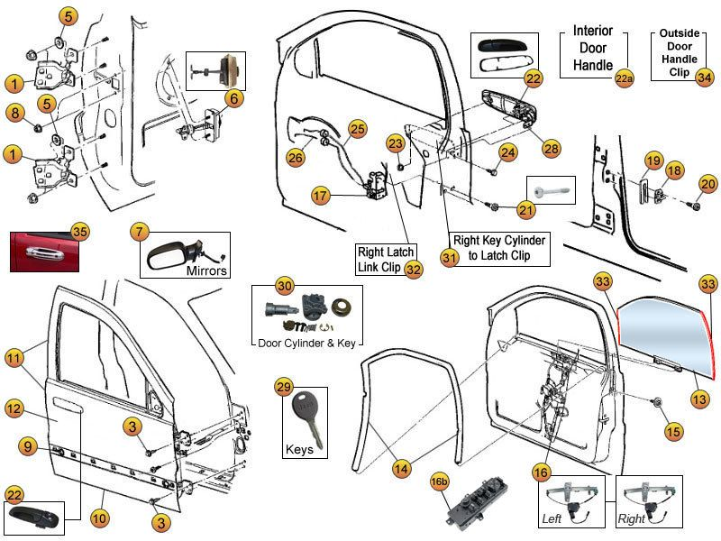 Front Door Parts And Components For Grand Cherokee Wj 99