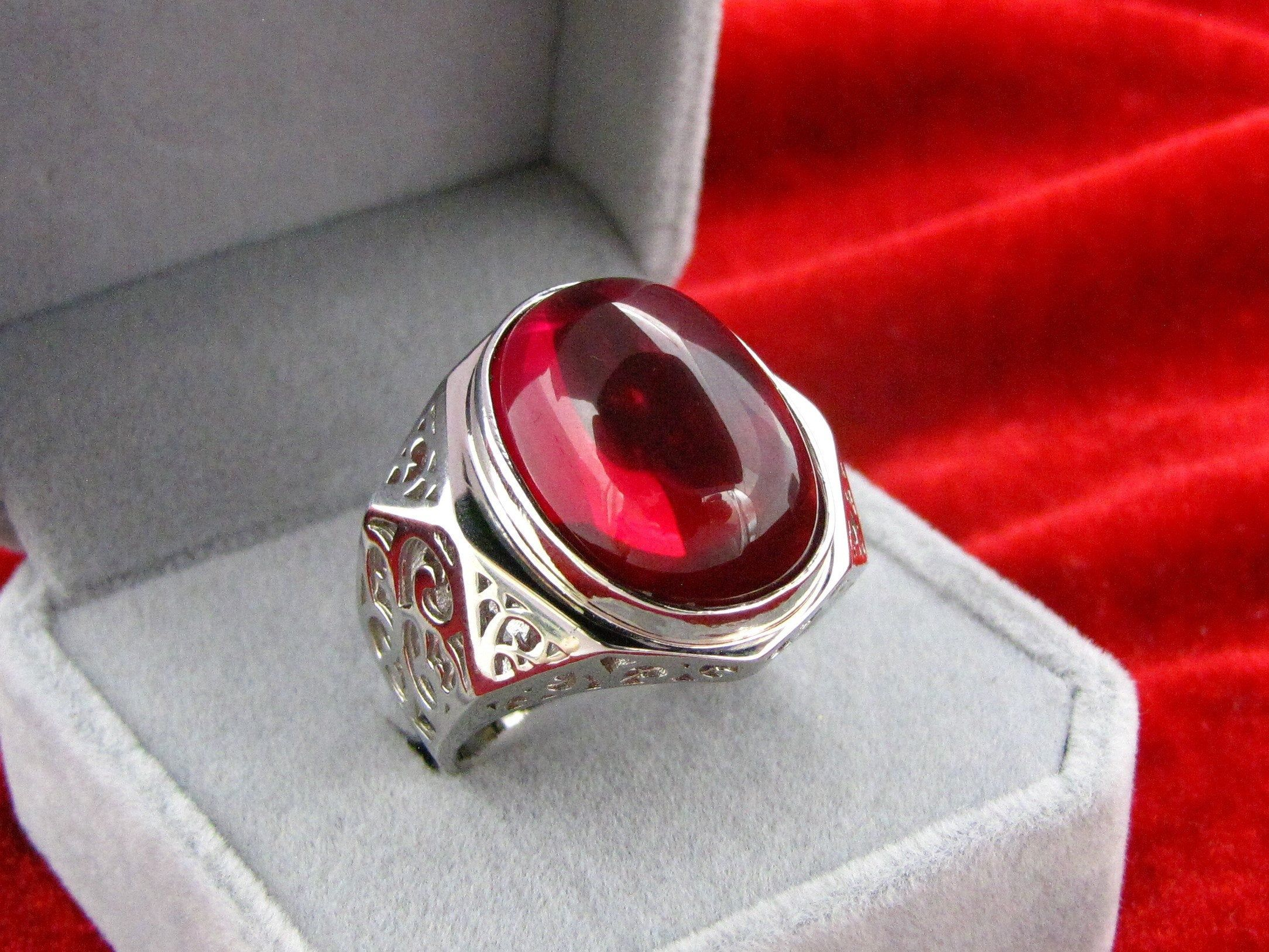 Natural Ruby Gemstone Big Oval Stud Earrings 925 Solid Silver Real stone