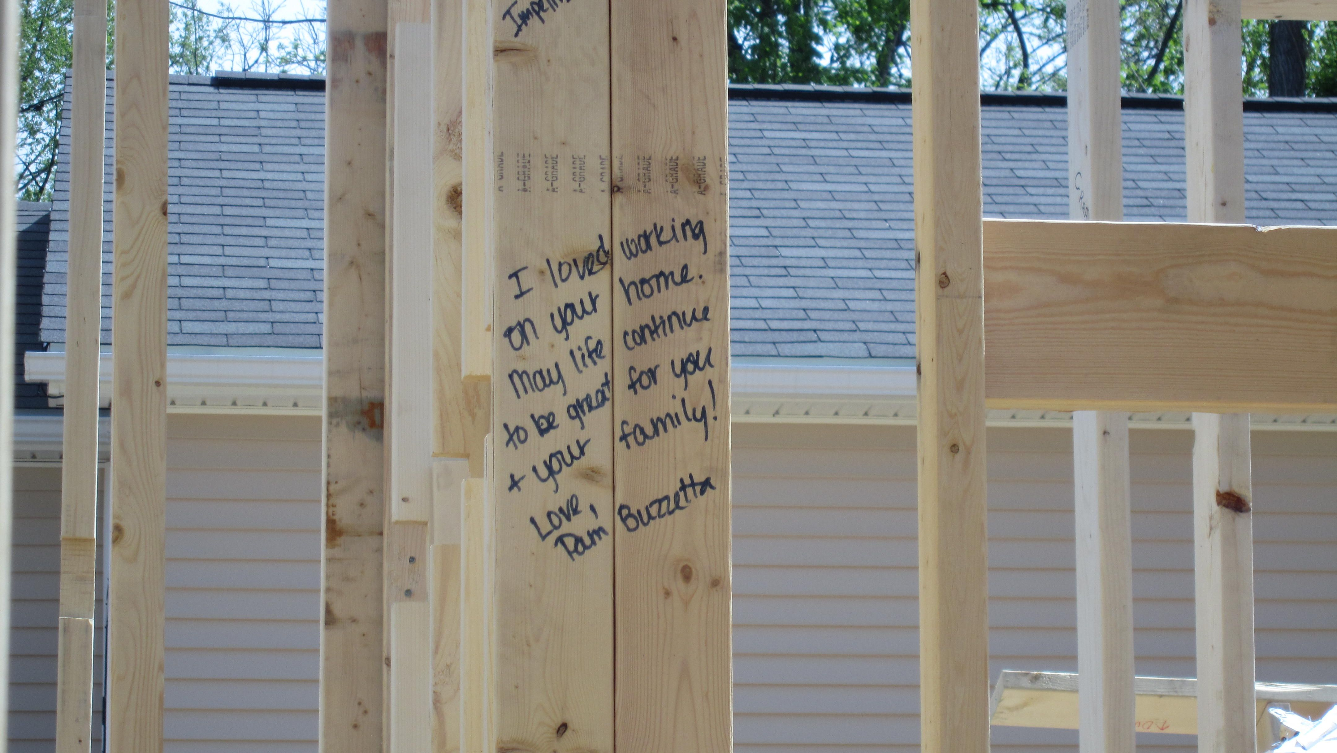 A message to the partner family from a volunteer habitat