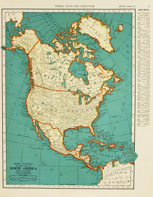 Vintage Map North America United States Original 1935 20 00 Via