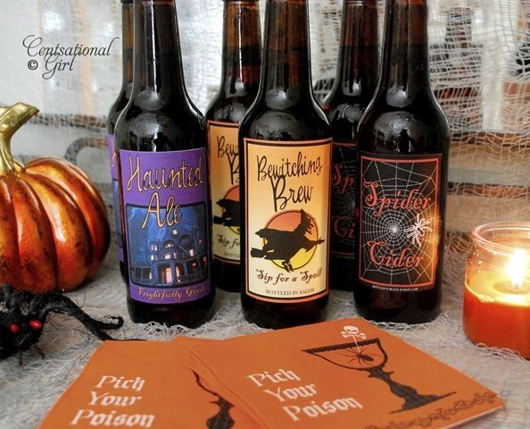 halloween bottle labels to print out