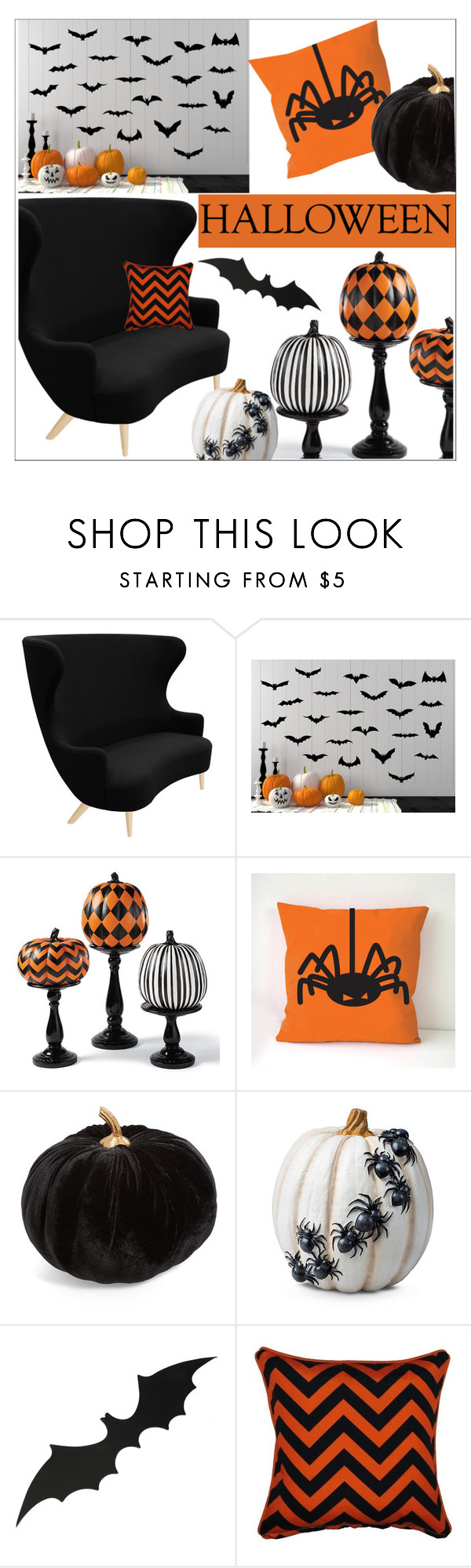 """Halloween Decor"" by sebi86 ❤ liked on Polyvore featuring interior, interiors, interior design, home, home decor, interior decorating, Tom Dixon, Grandin Road, Allstate Floral and Improvements"