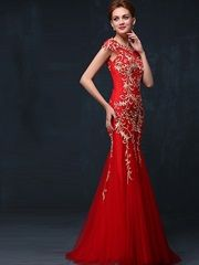 132874773 Sleeveless Off the shoulder Embroidery Gauze Zipper Summer Mermaid /  trumpet… Red Chinese Dress,