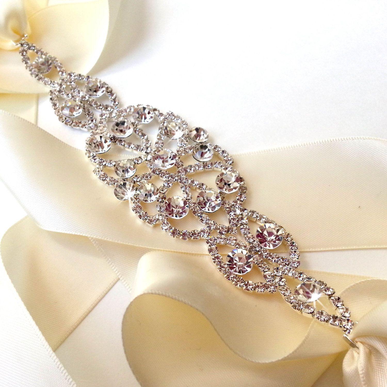 Wedding Dress Sash Encrusted with Crystals, Bridal Belt
