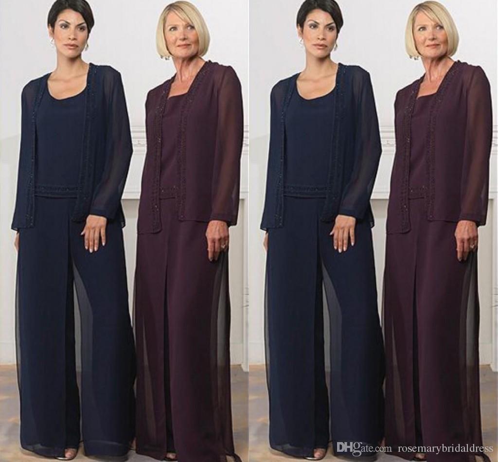 Elegant wedding pant suits - Hot Sale Elegant Wedding Pant Suits Mother Of The Bride Dresses Dark Navy Grape Purple Chiffon