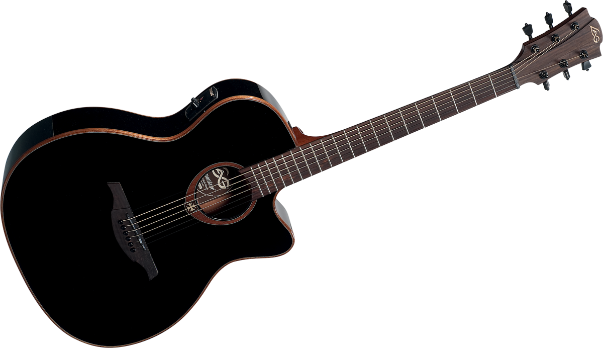 l g guitars usa lag t100ace blk cutaway acoustic electric black lag guitars guitar bass. Black Bedroom Furniture Sets. Home Design Ideas