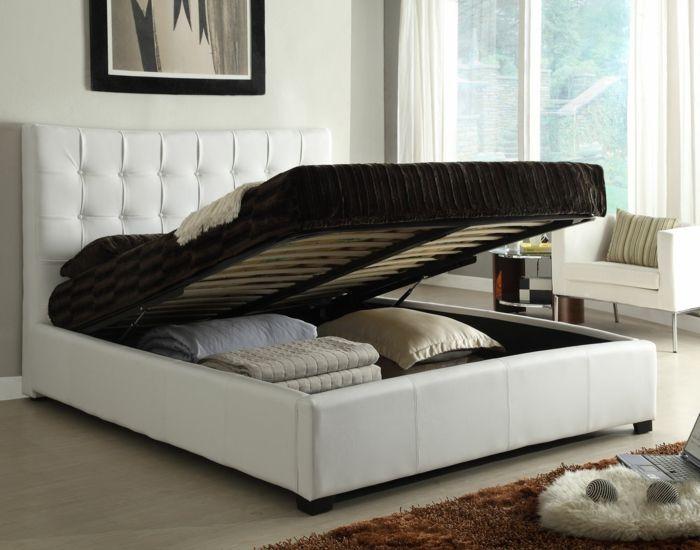 design betten aufbewahrungsraum weiß funktional beiger teppich - teppich im schlafzimmer