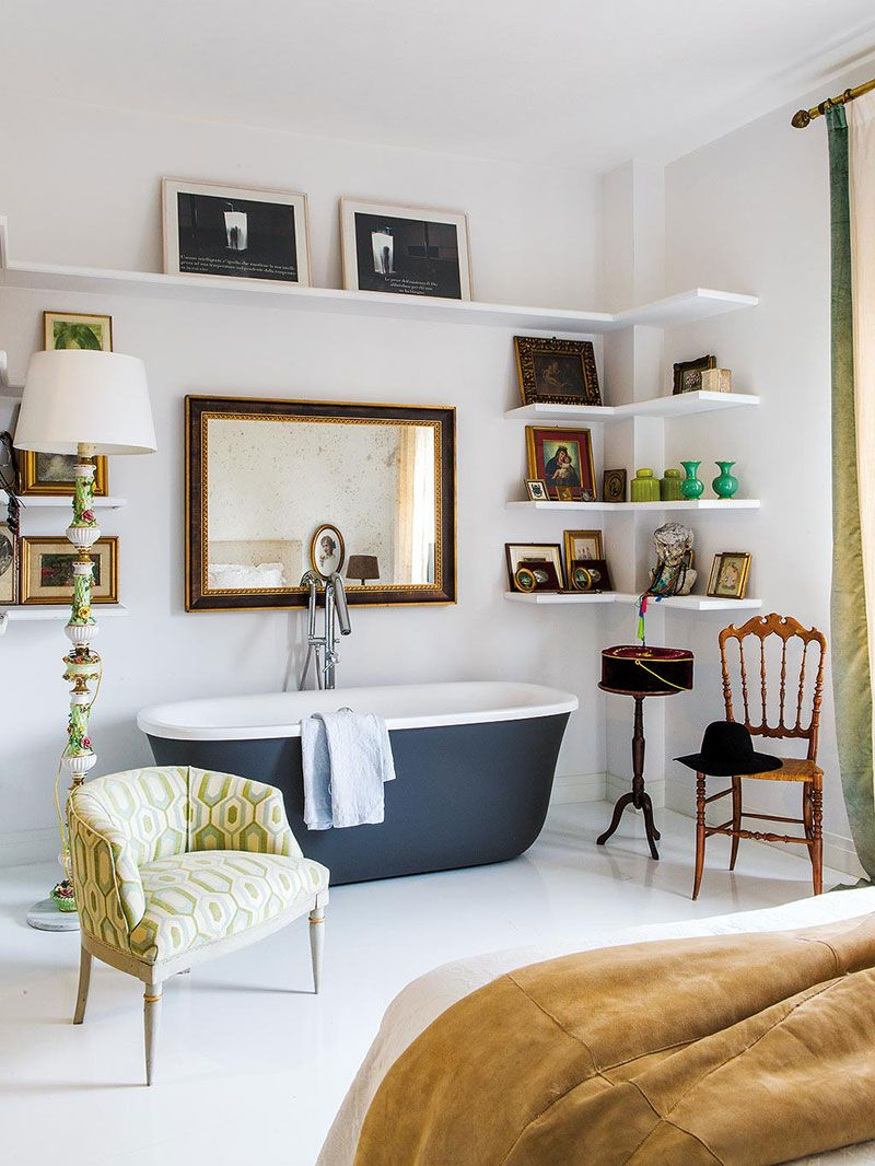 Bathtub In Bedroom And Purses As Decor Apartment For Young Woman