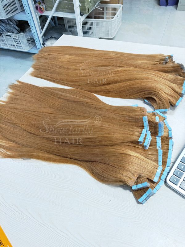 Raw Unprocessed Remy Russian tape hair extensions 16-24 Inches #27 Virgin Straight Brazilian Human Hair Tape hair Extensions.  Whatsapp: +8615939015320 #humanhairextensions