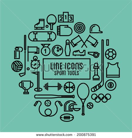 vector line icons sport tools - stock vector