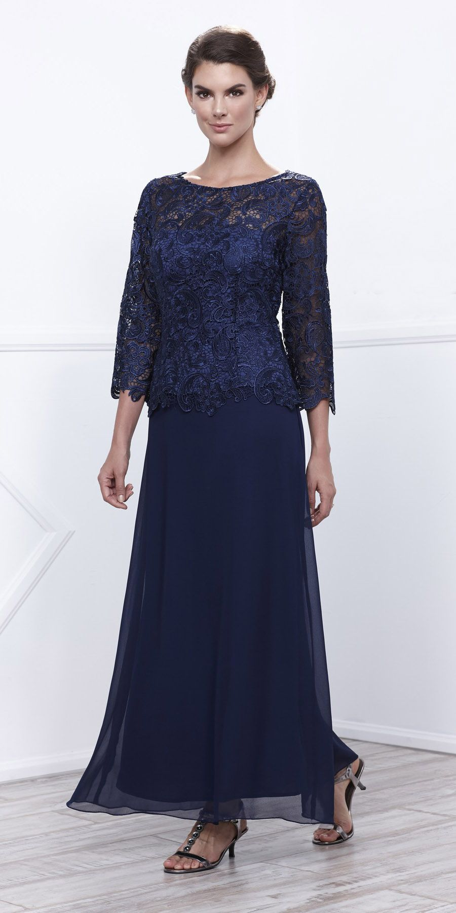 Navy Blue Mother Of Bride Gown Plus Size Mid Lace Sleeves With