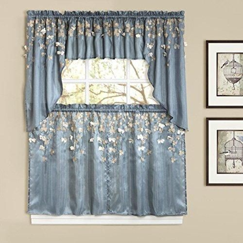 24 Inch Blue Color Flower Drops Tiered Curtain Pair Brown Floral Pattern Bohemian Damask Medallion