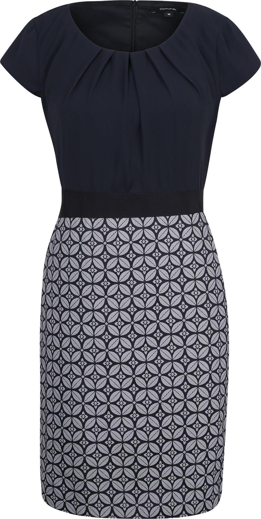 Kleid Mit Gemustertem Rockteil Kleider Kleid Arbeit Mode