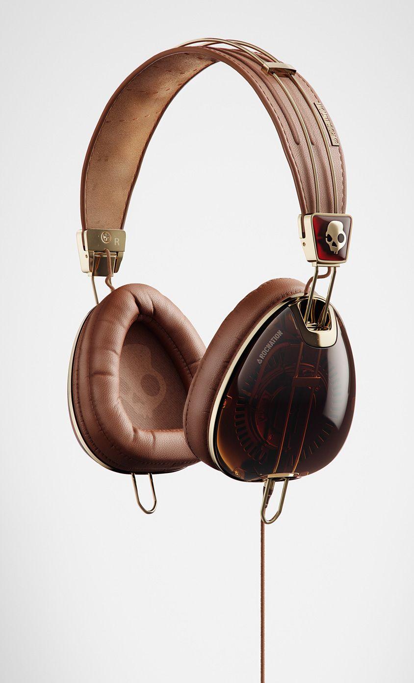 83c0683f32e SKULLCANDY - Gold And Leather Headphones | 耳机 | Headphones, Skull ...